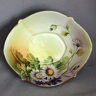 Sale! Antique Vtg NIPPON Hand Painted BOWL DAISIES FLOWERS Footed Cabinet Candy