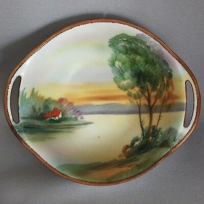 Sale! Vtg Antique NIPPON BOWL HANDLES Hand Painted Lake w Cottage GREEN M WREATH