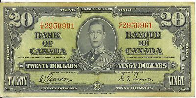 Bank of Canada 1937 $20 Twenty Dollars Gordon-Towers C/E Prefix VF+