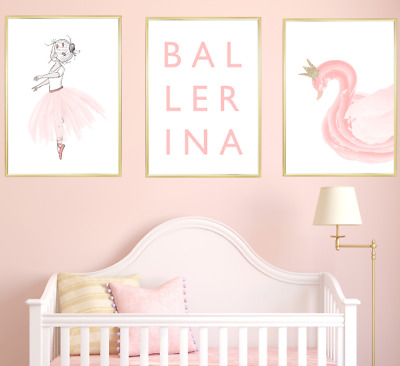 Ballerina Nursery Prints Set of 3 Baby Girl Room Pictures Wall Art Decor Swan