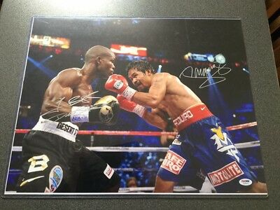 Manny Pacquiao & Timmothy Bradley Dual Signed Photo 20x16 - PSA DNA COA