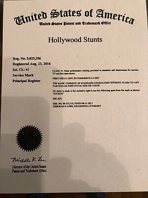 HOLLYWOOD STUNTS - Live Registered U.S. Trademark plus Web Domain Name
