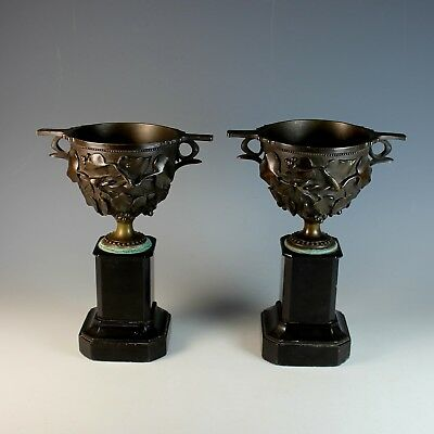 Set of French Bronze and Marble Pompeii Style Urns