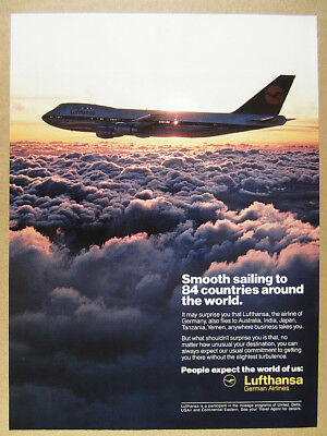 1989 Lufthansa Airlines 747 Jet flying above clouds photo vintage print Ad