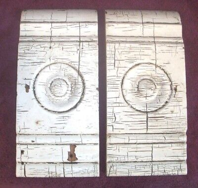 Victorian Bullseye Door - Window Corner Molding Blocks Matching Pair