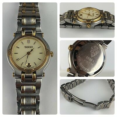907843d86e6 Vintage Gucci Watch 9000L Gold Tone Stainless Steel Swiss Tested and Working