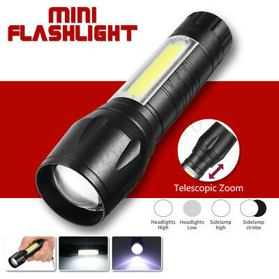 Portable T6 COB Flashlight Zoomable LED Torch 18650 USB Rechargeable Light Lamp