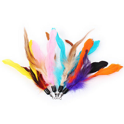 Colorful Artificial Feather Pet Cat Rod Teaser Replacement Refill Feather Pop