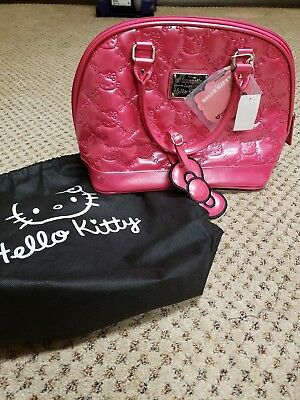 Hello Kitty Sanrio Loungefly Patent Embossed Shiny Hot Pink Purse - bag tote 2beaea7706