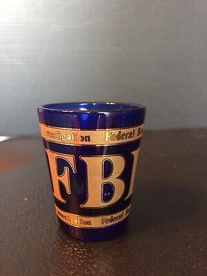 B37) FBI Cobalt Blue Gold Paint Shot Glass Federal Bureau of Investigations RARE