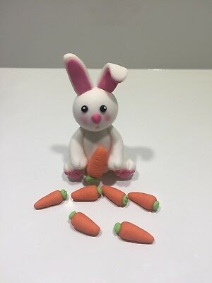 3D Rabbit with Carrots Edible Cake Topper Fondant, Gum paste, Icing,
