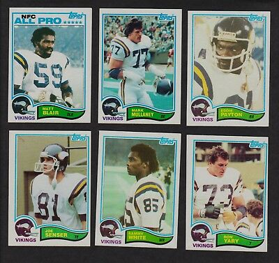 1982 Topps Football Lot Of 6 Minnesota Vikings 390 395 396 398 400 402 Vintage