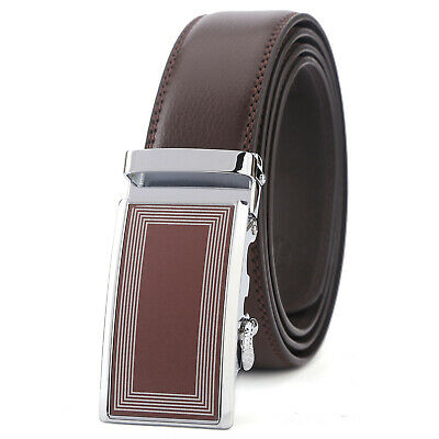 Mens Designer Leather Dress Belt With Sliding Ratchet Automatic Buckle Holeless
