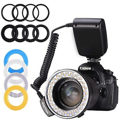 48 Macro LED Ring Flash Bundle LCD Display Power Control for Camera Other DSLR