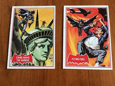 """Vintage batman 1966 cards #31A """"Flying Foes"""" & #35A """"Crimes above the Harbor"""""""