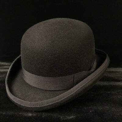 100% Wool Men s Black Brown Bowler Hat Gentleman Crushable Fedora Hat S M L  XL 97ceabdbcfbd