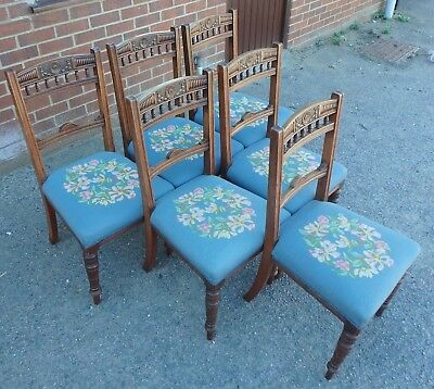 Set 6 Victorian antique Arts Crafts solid carved mahogany dining kitchen chairs