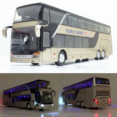 1:32 Alloy Bus Pull Back Model Night View Collectible Die Cast Double Xmas Gift