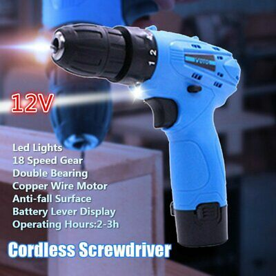 12V Cordless Drill Driver Electric Screwdriver Li-ion Rechargeable w / LED Light