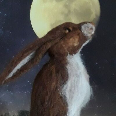 hand made needle felted wool moon gazing hare