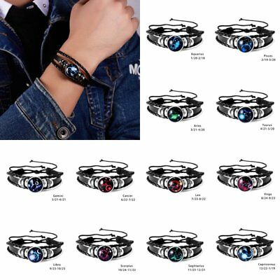 12 Constellation Zodiac Leather Weave Bracelet Bangle Unisex Wristband Jewellery