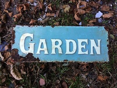 "Weathered Metal Garden Sign. 6""h. Flaking Paint And Charm"