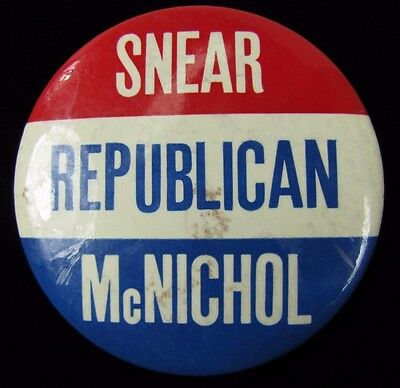 Old SNEAR McNICHOL REPUBLICAN Political Campaign Advertising Button Pin Pinback