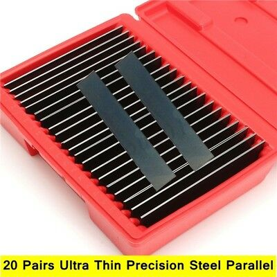 Thin 1/32'' Parallel Set 20 Pair Ultra Hardened PRECISION 0.0001'' Milling Tool