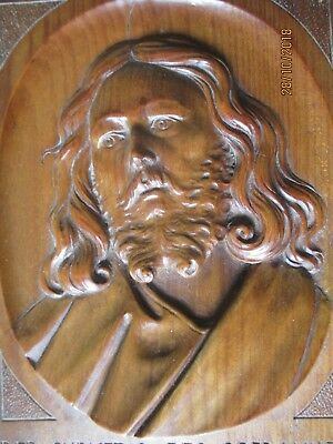 Anton Lang Oberammergau Passion Play Christ Actor Relief Wood Carving 1900