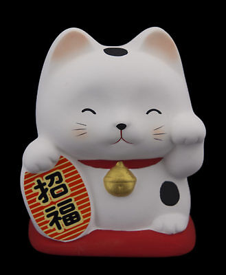 Tirelire chat japonais 10cm ceramique Made in Japan Bonheur Maneki Neko 40641