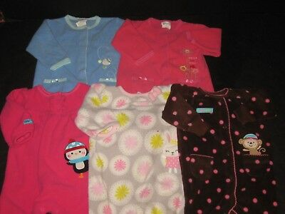 c79a6ce242e6 Baby Girl 3-6 Month Carters Fleece Rompers Jumpsuits One Piece Outfits Lot
