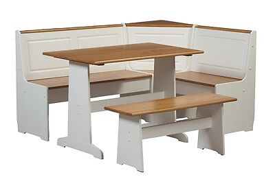 Dining Table Breakfast Nook Corner Set Booth Kitchen 5 pc Natural Pine Top White
