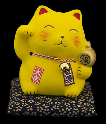 Tirelire Chat Japonais 10.5cm Richesse Maneki Neko Made In Japan jaune 40642
