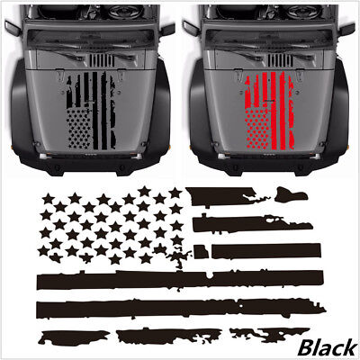 Black USA Flag Style Decal Vinyl Sticker Decal Accessories For Car Hood Window