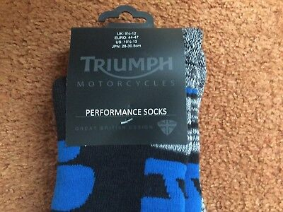 Genuine Triumph Performance Motorcycle Socks Uk 9.5 -12  Bnwt £10.49 Inc Uk Post