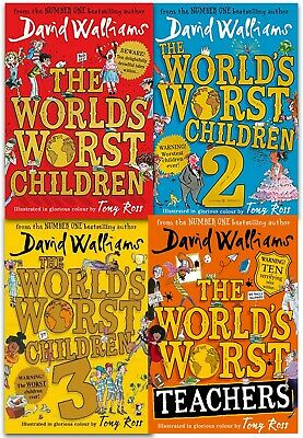 David Walliams World's Worst Children Series Collection 4 Books Hardback Set