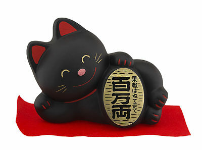 Tirelire chat japonais allongé 14cm noir Made in Japan Maneki Neko 40644