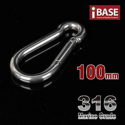 100mm Carabiner 316 SUS Climbing Clip Holder Hook Lock Camping Stainless Steel