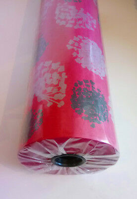 Cerise Pink Black Silver Floral Kraft Paper Counter Roll Packing Paper 125mx50cm