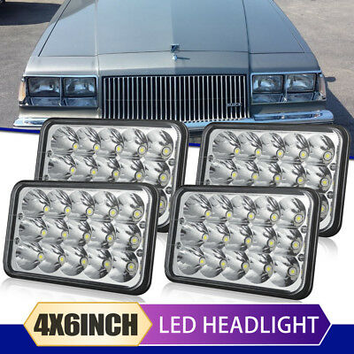 """4PC 4X6"""" LED Headlights To replace HID Bulb Fit Western Star 4900 Peterbilt 378"""