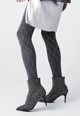 Fiore Patterned Tights 40 Denier Colette Metallic Pattern New