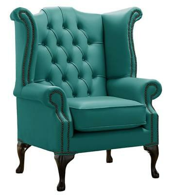 Chesterfield Armchair Queen Anne High Back Wing Chair Shelly Dark Teal Leather