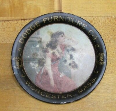 1908 DODGE FURNITURE Co WORCESTER MASS Tin Advertising Tip Tray