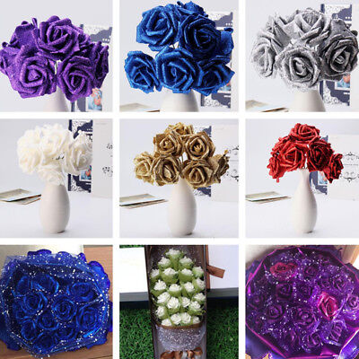 100Foam Roses with Glitter Powder Flowers Bride Bouquet Home Party Wedding Decor