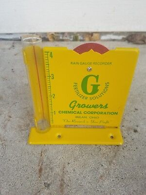 Vintage Metal Growers CHEMICAL CORP Milan Ohio Rain Gauge FARM sign