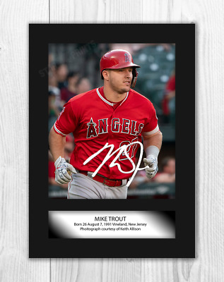 Mike Trout (2) Los Angeles Angels MLB Signed A4 Poster. Choice of Frame