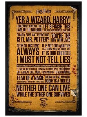 Harry Potter in schwarzes Holz eingerahmtes Quotes Maxi Poster 61 x 91,5 cm