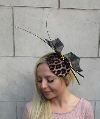 Black Gold Feather Leopard Animal Print Hat Fascinator Races Wedding Hair 6416