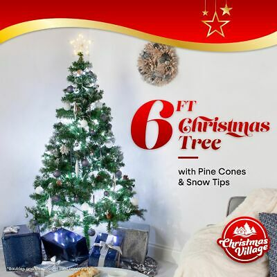 6Ft Artificial Christmas Tree With Snow & Cones Festive Xmas Decoration Green