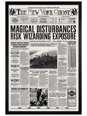 Fantastic Beasts in schwarzes Holz eingerahmtes New York Ghost Poster 61x91,5cm